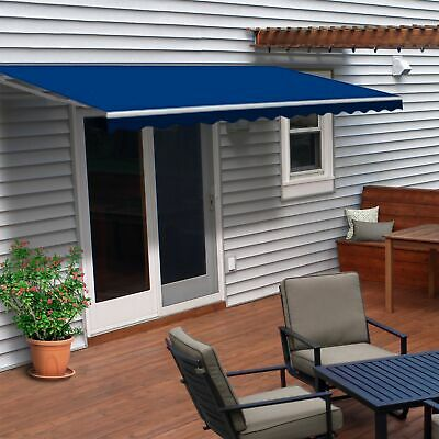 ALEKO Retractable Patio Awning 6.5 X 5 Ft Deck Sunshade Blue Color