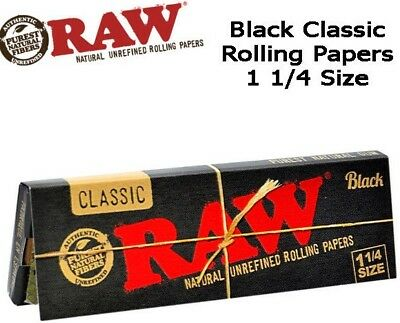 RAW Classic Black 1 1/4 1.25 Rolling Papers 50 Leaves/Pk **LOWEST PRICES**