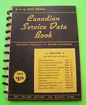 1938 CANADIAN CAR usa SERVICE DATA BOOK 140-pgs SPIRAL All Makes BUNCHES OF ADS
