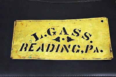 Antique ~ Vintage ~ Brass ~ Stencil ~ L. Gass ~ Reading PA.