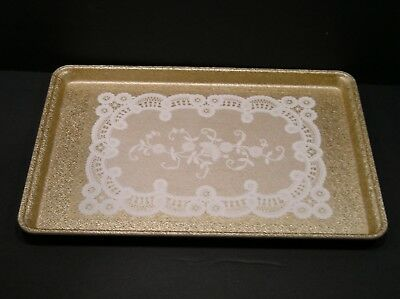 MFG Vintage Molded Fiberglass Tray Toteline Serving Lace Doily Design USA