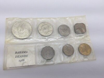 1966 Bahama Islands 7 Pc Mint Set - Sealed W/ Silver 50 Cents & Dollar Coins