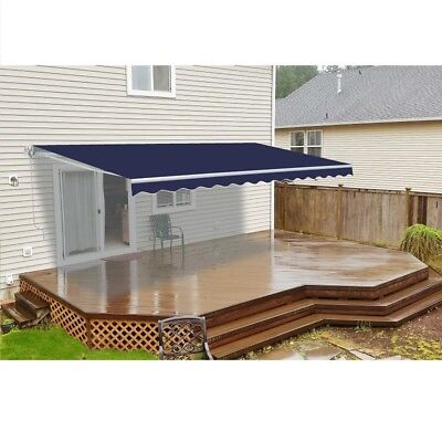 ALEKO Retractable Patio Awning 8 X 6.5 Ft Deck Sunshade Blue Color