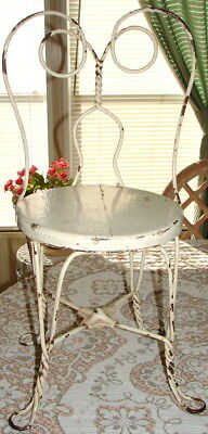Antique Child Size Ice Cream Parlor Metal & Wood Chair