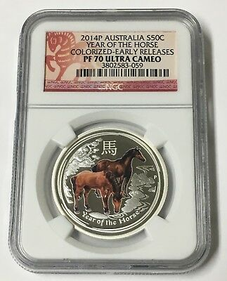 2014 Australia S50C Lunar Year Of The Horse Colorized  PF 70 1/2 Oz Silver Coin