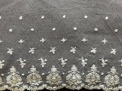 "Gorgeous Antique French Handmade Needle LACE EDGING 85"" by 10 1/2"""