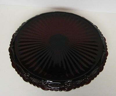 Avon Ruby Red Cape Cod Pedestal Glass Cake Plate Stand