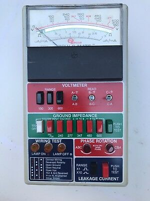 ECOs POW-R-MATE Model 1023 Volt Current Phase Wiring Meter w/out Case & Adapters