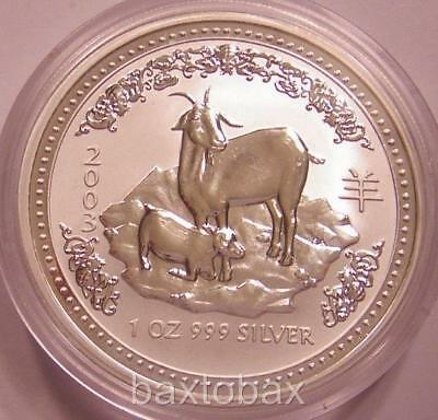 2003 AUSTRALIAN LUNAR YEAR OF THE GOAT  1 oz.  SILVER COIN *BU* ~ Series 1