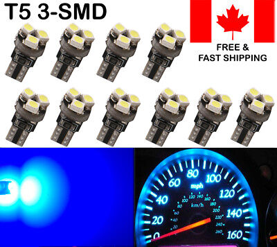 10x T5 73 74 3-SMD LED Bulbs Blue Instrument Panel Dash Gauge Indicator Lights