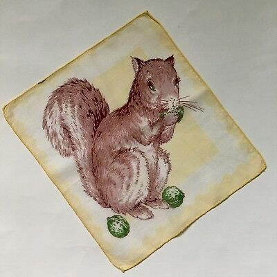 Vintage children's squirrel hanky eating an acorn, excellent condition, no flaws