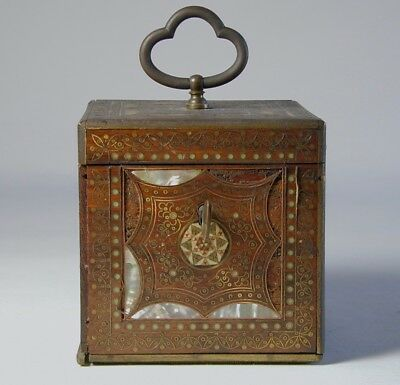 Antique 19th Century Wood, Brass, MOP, and Glass Tea Caddy... English or Persian