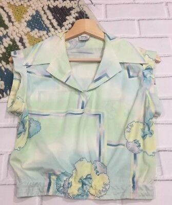 Vintage Shirt 60s Blouse Groovy Crop Top Small