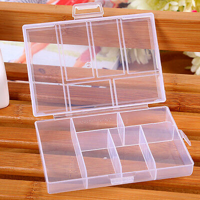 Storage Case Box Holder Container Pills Jewelry Nail Art Tips 6 Grids
