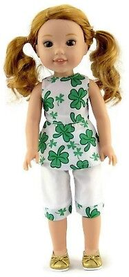 "St Patrick's Day Outfit fits 14.5"" American Girl Wellie Wishers Doll Clothes"