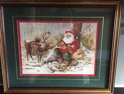 HOME INTERIORS Peggy Abrams Christmas Santa and Reindeer Framed Double Matted