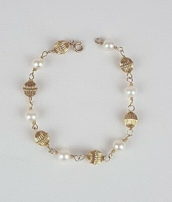 """Vintage 14K Solid yellow gold ball & Pearl bracelet 7.25"""""""