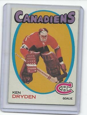 1971 - 1972 Topps  #45 KEN DRYDEN VG Montreal Canadiens Rookie RC Hockey Card