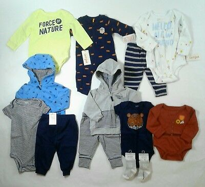 Infant Baby Boy 9 Piece Carters, Cat & Jack, Jo-Jo Clothes Lot NB-12M Lot #100