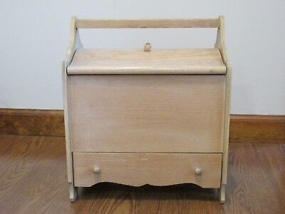 Vintage Sewing/Knitting Wooden Box with 2 Hinged Lids & Drawer Underneath