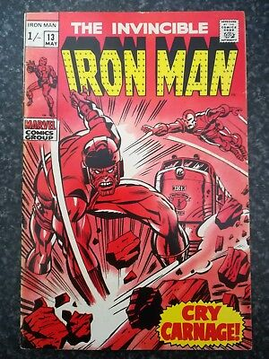 1969 : The Invincible Iron Man Issue #13 Marvel Comic Book : Vintage