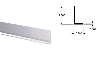 """Aluminum Angle: 1/2"""" x 1"""" x 1/16"""" Wall (3 Foot Length) Clear Anodized"""