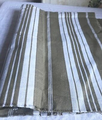 "Vintage Mattress Ticking French Cotton Fabric Khaki & Cream Herringbone 58""x28"""