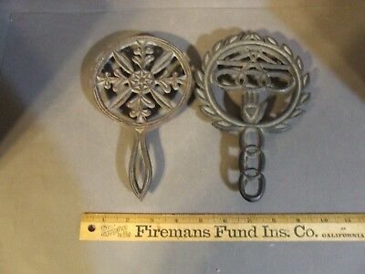 Lot Of 2 Vintage Antique Cast Iron Wilton Trivets Hand Snowflake
