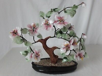 Large Vintage Chinese Japanese Oriental Glass Bonsai Tree in Oval Ceramic Pot