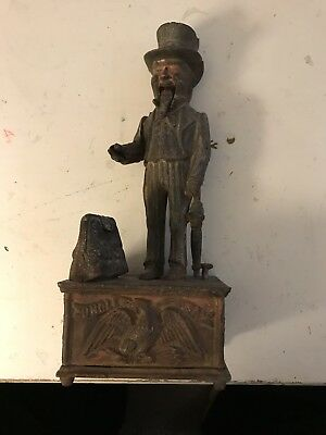 "Antique 11"" HIGH UNCLE SAM METAL MECHANICAL BANK Working Condition!"