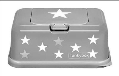 Funky Box Trendy Baby Wipes Dispenser Box - Grey With White / Silver Stars - New