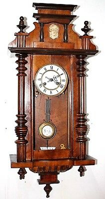 Antique Mauthe (Fms) German Walnut Vienna Regulator Wall Clock W/ Bust On Topper