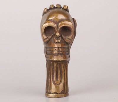 Bronze Hand-Carved Skull Head Hand Grab Statue Crutches Head Old Collection
