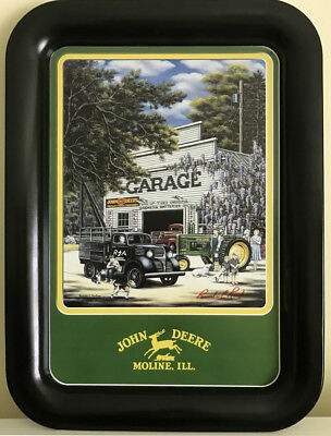 """2001 John Deere Metal Serving Tray """"A Better Day with REA"""", artist signature"""