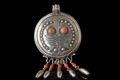 Old Asian Coral Sterling Silver Mask Pendant Dangle A807-239