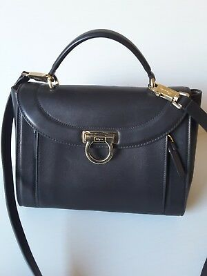5f29622fffe Salvatore Ferragamo Sofia Rainbow Medium Shoulder Black Leather Messenger  Bag