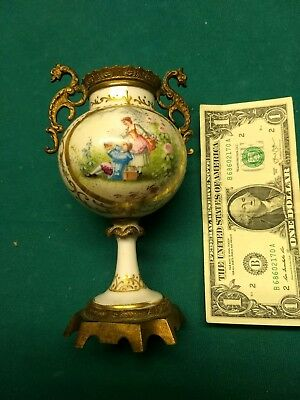 Antique Japanese Vase With Brass Dragon Handles