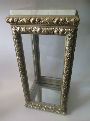 Vintage Vitrine Display Case / Cabinet Glass / Wood / Marble Top Made in Italy 3