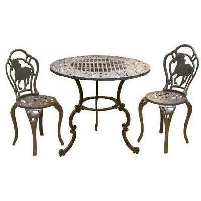 Cast Iron Outdoor Table & Chairs Garden Setting - Horses