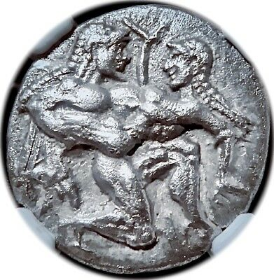 Thasos. 500-463 BC. Stater. Nude & Aroused Satyr-Nymph Archaic form. NGC AU.