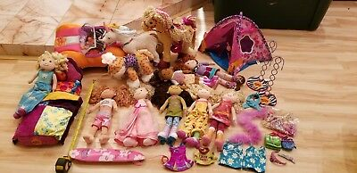 95-100 pc LOT GROOVY GIRLS, FURNITURE, 10 PETS, 8 DOLLS,CAR, ALL DRESSED, EXTRAS