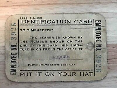 PG&E Pacific Gas and Electric Old Identification Card