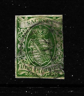 Hick Girl Stamp-Used  German State-Saxony Sc#2    Coat Of Arms      X5117