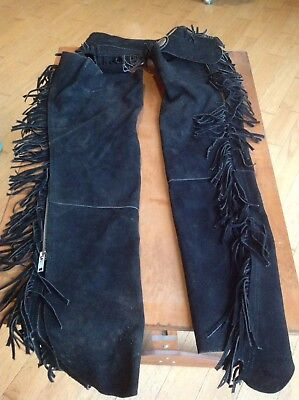 Vintage Used Western Cowboy Suede Leather Chaps Fringe Motorcycle Collectible