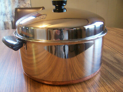 REVERE WARE Pre '68 Stainless Steel Copper Clad 6 Qt. Stock Pot w/ Dome Lid