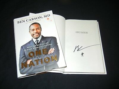"""BEN CARSON Signed Autograph """"ONE NATION"""" Book Official in TRUMP White House 1st"""