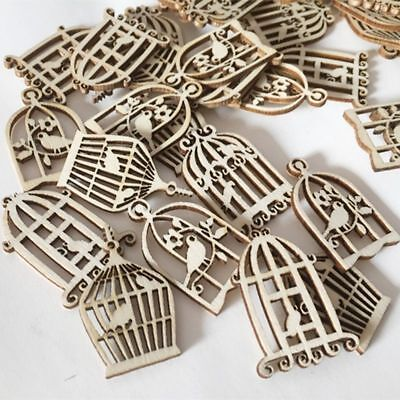 50Pcs Scrapbooking Birdcage Wood Wind Pieces Chime Decorations Hanging Carft DIY