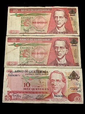 Lot Of 3 Banknotes Of Guatemala 10 Quetzales  1983.  1985.  1987.