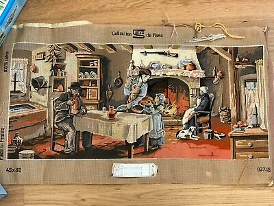 SEG DE PARIS Tapestry canvas Partially worked in PETIT POINT large scene