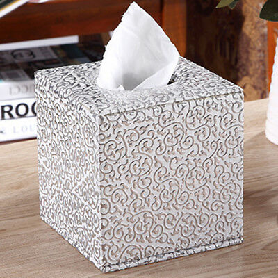 Durable Tissue Cover Box Square PU Leather Tissue Holder For Home Office Car